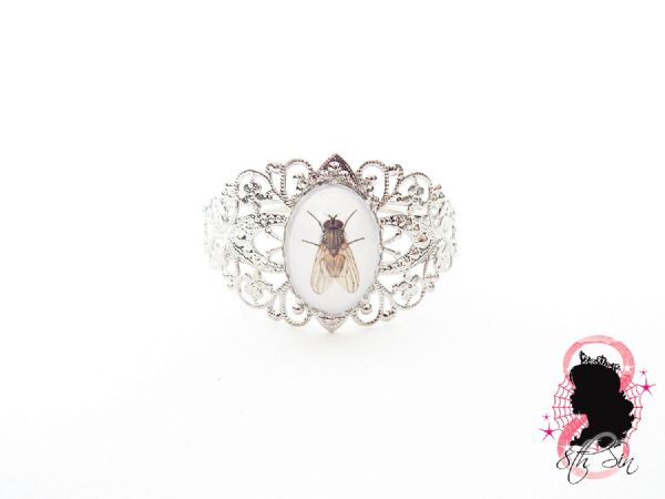 Antique Silver Filigree Fly Bangle